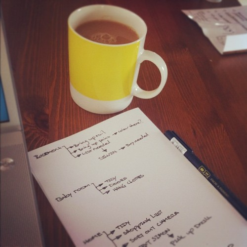 Cup 'O' tea and planning the day.  (Taken with Instagram at Doughnuts HQ)