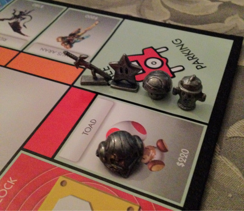 Playing Nintendo monopoly. I'm Samus' helmet and so far I'm only in $6350 debt.