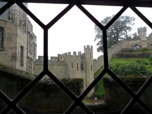 Warwick Castle Battlements through Leaded Window.