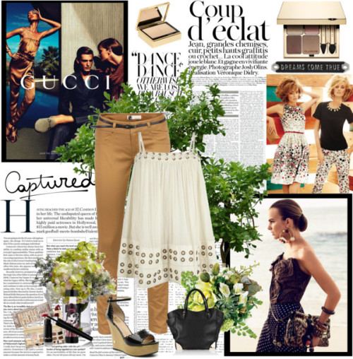 cute by gulbeshekerik featuring brown skinny pantsAllSaints cami shirt / Ichi brown skinny pants, $43 / Yves Saint Laurent matte foundation / Clarins eyeshadow, $47 / TheBalm eyeshadow / Eyeliner / Sephora Collection lipstick
