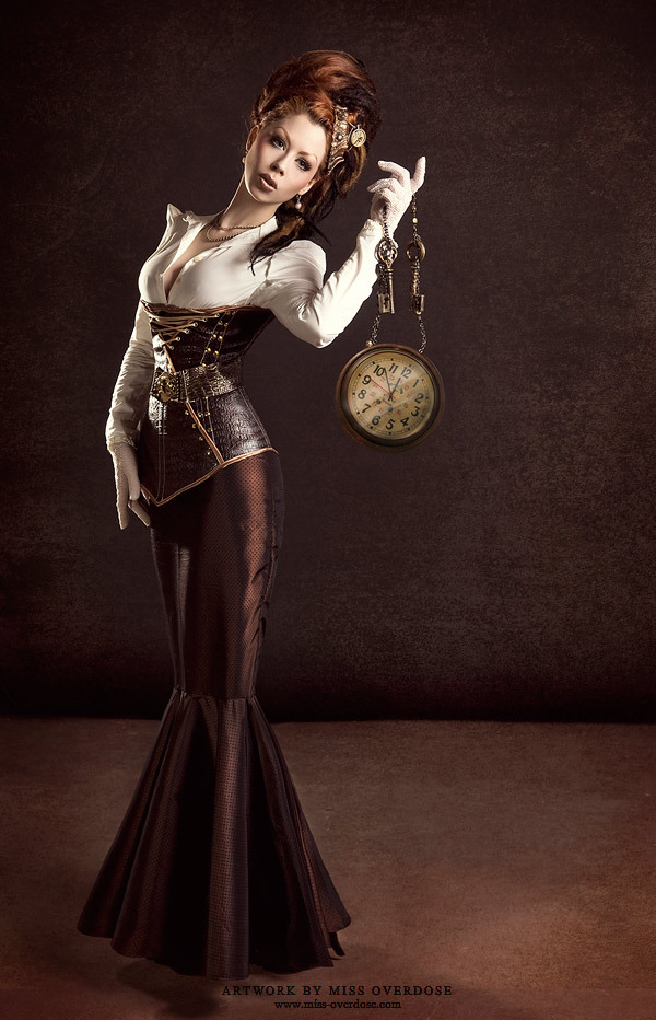 CLOCKPUNK The fabulous leather corsetted Ophelia Overdose has a watch to match the size of those Steampunk weapons she often sports. Ophelia's Tumblr page is here