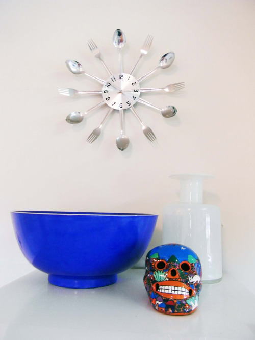 This clock would be a lot of fun in the kitchen!  :-) mdartinteriors:  'The details always tell the story'  www.mdartinteriors.com.au (Top of the fridge installation)