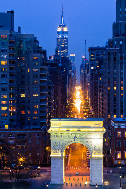ronhart:  Washington Square Arch, Fifth Avenue, and the Empire State Building by RBudhu on Flickr.