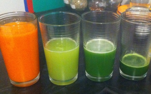 Freshly squeezed vegetable juice! Carrot, Celery, Cucumber and Spinach.  Don't have a juicer? Neither do I! It's a bit time consuming, but its pretty simple! All you have to do is chop up the veggies and put them through the food processor till they're small pieces. Then i put them in a tall container and went at it with the stick blender (a regular blender would work just as well). Then you just need to put the pulp and juice into a nut milk bag or if you don't have one, you can use a piece of muslin, which you can get from any fabric store … then squeeze the hell out of it! and magic! Juice! Yummy Juice Recipe  100mls of Carrot, Celery, Cucumber and Spinach Juice (combined, not of each)150mls of Orange Juice15mls of Apple Juice Concentrate (available from the health food section)250mls of Water Makes 500mls of Juice for just 174 calories! To lower calories increase vegetable juice and reduce orange juice.