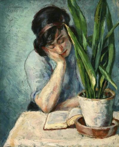 soyouthinkyoucansee:  Soyouthinkyoucansanseveria Woman Reading with Mother-in-Law's Tongue by Albert Reuss  Date painted- 1935 (sanseveria)