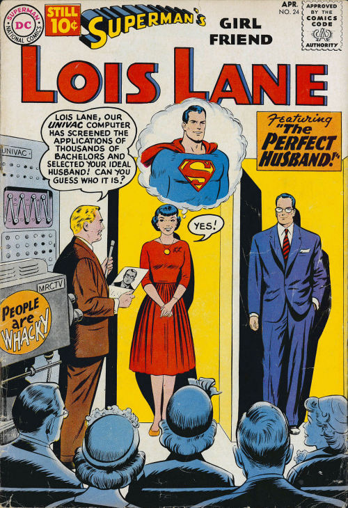 swanderful:  Curt Swan draws Lois and Clark on a dating game show! Love the body language and facial expressions on Lois, Clark and Supey here.