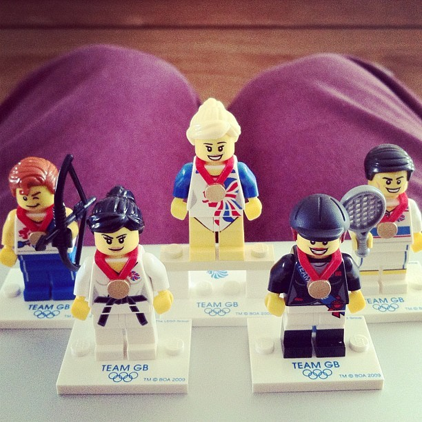 "Picked up 5 Lego Olympic ""Team GB"" minifigs today. (Taken with Instagram)"