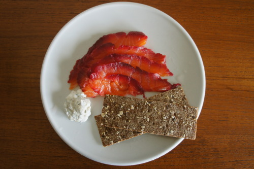 Rosy gravadlax Take a small side of salmon (500g), skin on and lay in a deep dish. Sprinkle with 100g rock salt and 40g brown sugar. Then add on top (in this order) 30g grated horseradish, 200g raw beetroot, peeled and coarsely grated, a sprinkling of vodka or schnapps (40ml), a large bunch of dill and the grated peel of 1 lemon.  Pat everything down gently, cover/seal with two layers of cling film and place in the refrigerator with a couple of heavy tins on top for 48 hours. Unwrap the salmon, discard the beetroot mixture and drain the collected liquid. Pat dry with some kitchen paper and place on a cutting board skin side down. Slide a sharp knife just above the skin and slide through to cut and remove the salmon skin. Cut thin slices on an angle and place on a serving dish. Serve with a dill sauce (combine 200ml soured cream with 2 tsp wholegrain mustard, the zest and juice of 1/2 a lemon and a small handful of finely chopped dill). Serves 4-6 as a starter. Note: The salmon will keep for up to 2 weeks in the refrigerator (unsliced)