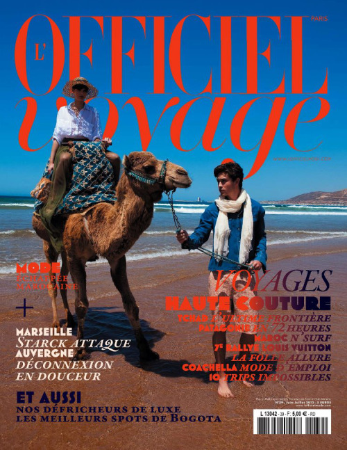 Francisco Lachowski and Pau Bertolini on the cover of L'Officiel Voyage June/July 2012.  Ph: Edouard Pellici.