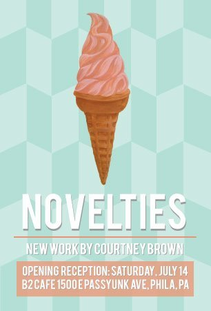 I'm proud to announce my first solo show Novelties at B2 Cafe! Saturday July 14th, I'll be showing 14 new paintings, all inspired by ice cream trucks, especially Mister Softee! There will be free refreshments and beer, and as always, B2 will have their dairy or vegan soft serve available!  I'm so excited!! You can RSVP here!