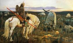 Victor Vasnetsov. A Knight at the Crossroads. 1878. Oil on canvas. The Museum of Russian Art, Kiev, Ukraine.In many Russian folk-tales, a traveling vityaz (knight) comes to a crossroads where there is a stone inscribed with an un-inspiring choice: If you go to the right – you'll loose your horse; If you go to the left – you'll loose your life; If you go forwards – you'll loose both… Or a variation of these three…..