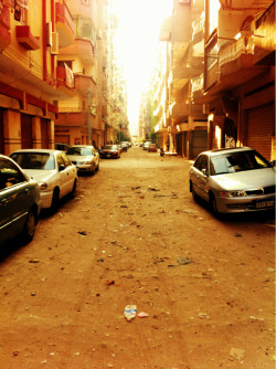 Rare view: empty street in Egypt