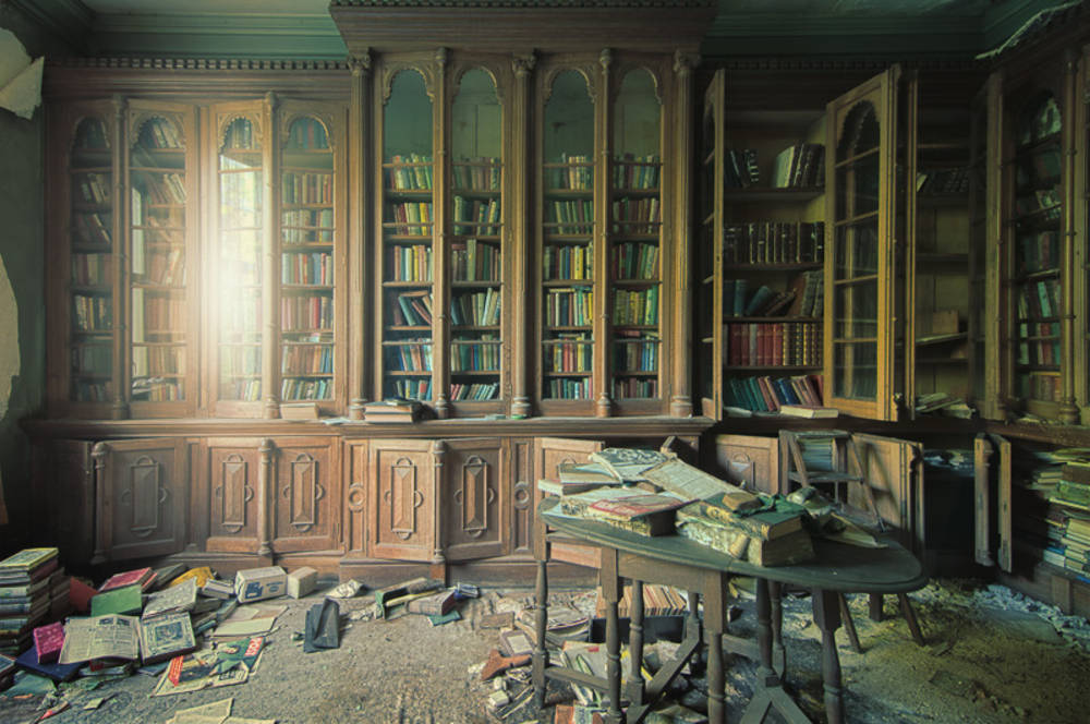 "nightsinneon:  I'm very taken with James Charlick's photo, ""The Grand Library,"" shot in an abandoned house during an urban exploration expedition."
