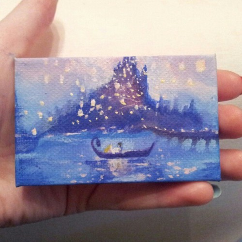 gingernutty:  Tiny Tangled painting I made for @jammyjimjams #painting #art #tiny #tangled #rapunzel #disney #gift #canvas (Taken with Instagram)