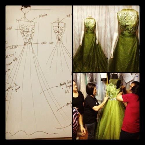 veejayfloresca:  The making of Karen's gown for PBB (Taken with Instagram)