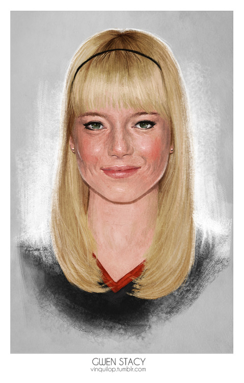 Emma Stone as Gwen Stacy Watched The Amazing Spider-Man a few days ago and it was surprisingly humorous. I'd say that this is a better version than the first trilogy made. Emma Stone's blonde hair nailed it. lol