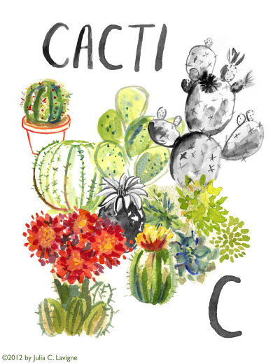 "julia-lavigne:  Started out as ""8 Cacti"" for my very first SUPER LIST SATURDAY but then I realized there were more than 8… because I painted them in groups, and I also realized I liked them grouped more than displayed as a list.Maybe next week, Kenton!"