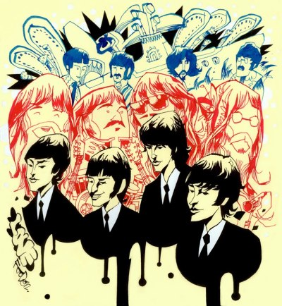 heyoscarwilde:  With A Little Help From My Friends The Beatles illustrated by Jim Mahfood :: via foodoneart.blogspot.ca