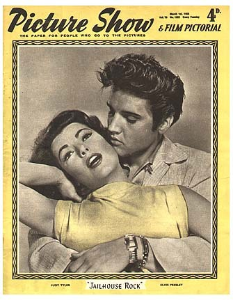 Picture Show, 1958On the cover: Judy Tyler and Elvis Presley, from Jailhouse Rock See some classic Elvis Presley photographs at Boom Underground, who is posting them as part of a month-long series on Hunks We Were Hot For, male heart-throbs from the 1960s & 70s. Source: Picture Show Magazine