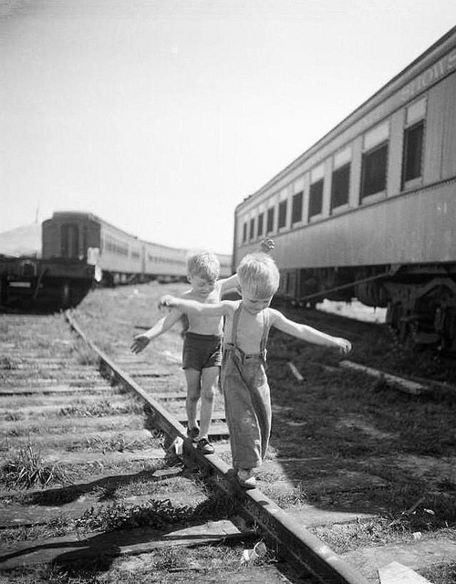 fuckyeahvintage-retro:  Boys playing on railroad tracks. NY, 1948.