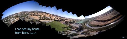 digital-phenomena:  Fun little panorama made from my RC plane at the park. At the far right is the Bay and at the far left is Lucas Valley where if I was a lot higher, you COULD see me casa.Best viewed at 'full screen' resolution.I made this using a 720p Keychain camera on an Easy Star R/C Airplane - then sampled every 10th frame into AutoStitch for the iPhone. Because this was the first flight and I hadn't flown in a while, it took me longer than I expected to trim out the plane - so much of the video footage is 'unwatchable'.  Genius