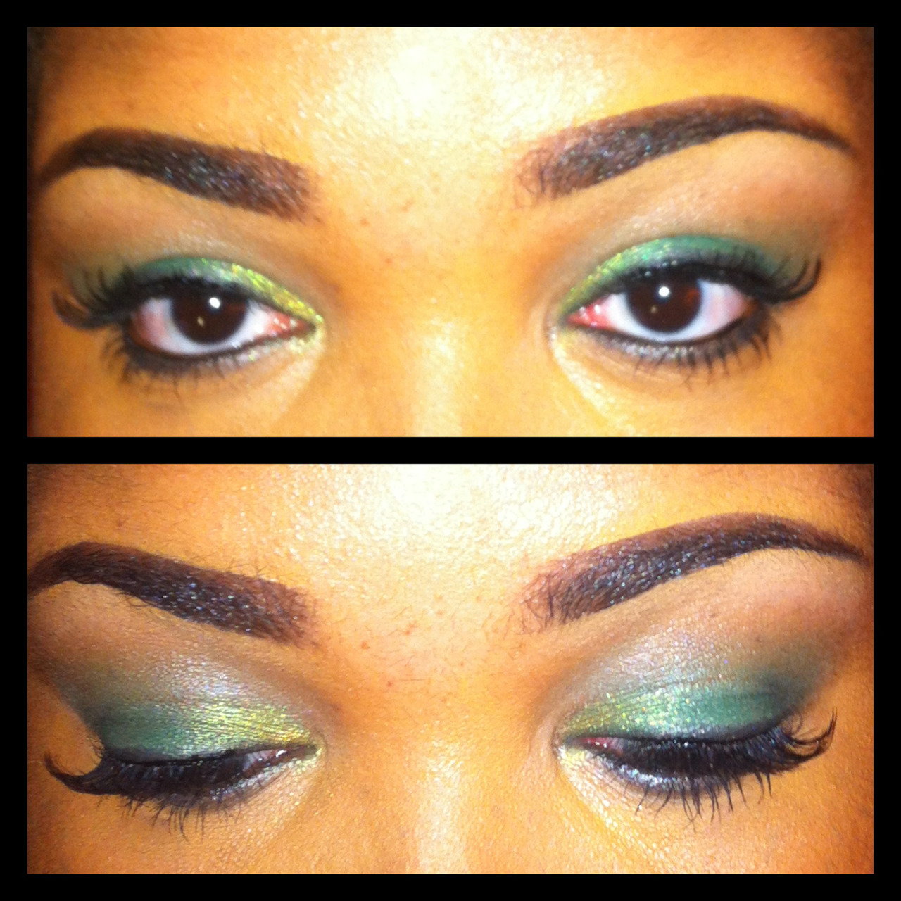I never wear green eye shadow, so I thought I'd branch out today.