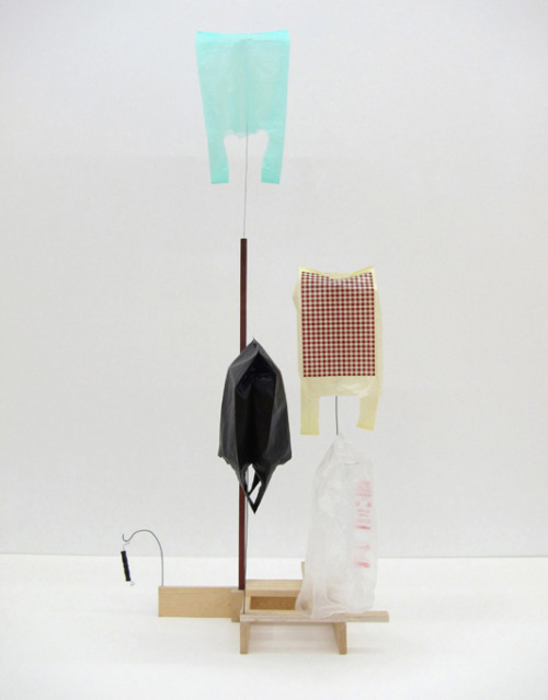 confront:  B. Wurtz, Untitled, wood, plastic bags , wire, handle, 165 x 70 x 60 cm, 2007