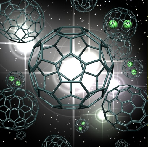 "Decades Old Mystery of Buckyballs Cracked  After exploring for 25-years, scientists have solved the question of how the iconic family of caged-carbon molecules known as buckyballs form.  The results from the Florida State University and the National Science Foundation-supported National High Magnetic Field Laboratory, or MagLab, in Tallahassee, Fla., shed fundamental light on the self-assembly of carbon networks. The findings should have important implications for carbon nanotechnology and provide insight into the origin of space fullerenes, which are found throughout the Universe.  Many people know the buckyball, also know as fullerene by scientists, molecule, C60, from the covers of their school chemistry books. Indeed, the molecule represents the iconic image of ""chemistry."" But how these often highly symmetric, beautiful molecules with extremely fascinating properties form in the first place has been a mystery. Despite worldwide investigation since the 1985 discovery of C60, fullerene has kept its secrets. How? It's born under highly energetic conditions and grows ultra fast.  ""The difficulty with fullerene formation is that the process is literally over in a flash – it's next to impossible to see how the magic trick of their growth was performed,"" says Paul Dunk, lead author of the work.  In the study, published in Nature Communications at the end of May, the scientists describe their ingenious approach to testing how fullerenes grow. ""We started with a paste of pre-existing fullerene molecules mixed with carbon and helium, shot it with a laser, and instead of destroying the fullerenes we were surprised to find they'd actually grown."" The fullerenes were able to absorb and incorporate carbon from the surrounding gas.  —  The buckyball research results will be important for understanding fullerene formation in extraterrestrial environments. Recent reports by NASA showed that crystals of C60 are in orbit around distant suns. This suggests that fullerenes may be more common in the Universe than we thought.  ""The results of our study will surely be extremely valuable in deciphering fullerene formation in extraterrestrial environments,"" said FSU's Harry Kroto, a Nobel Prize winner for the discovery of C60 and co-author of the current study.  Full Article"