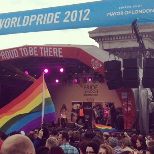 London Pride Act III: Deborah Cox (??). I didn't recognize a single song she played but the London gays were ALL OVER IT so that is the important thing. (Taken with Instagram at Trafalgar Square)