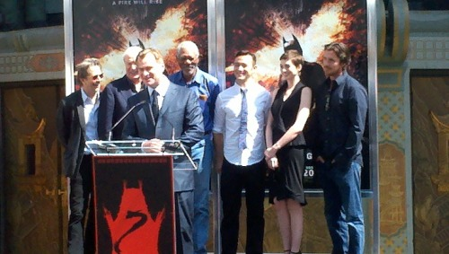 The cast of TDKR honours Christ Nolan