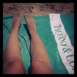LBI with my Tiffany's beach towel c:/o @glamour_fashion forever ago. #tiffanysblue #expensivebeachlife (Taken with Instagram)