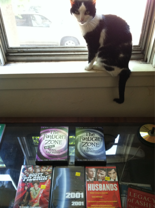 Abby presides over my crop of used DVDs from Cheapo Discs. I needed a burst of fresh entertainment (because I own relatively few DVDs) while I while away the week and a half until my new computer arrives at long last!   Picked up 2001, cause it's been on my mind, Husbands which is probably my favorite Cassavettes, and Scott Pilgrim, about which I shall brook no truck, unless, of course, it's glowingly positive truck (which sounds like a Flaming Lips EP, presumably made out of multiple jellybeans which you have to eat in a group of people, that makes music pour like light out of everyone's eyes. I think I read about it on Pitchfork).  And, topping the bill, 40 episodes of fan favorites from The Twilight Zone. I'm gonna make it after allllll….
