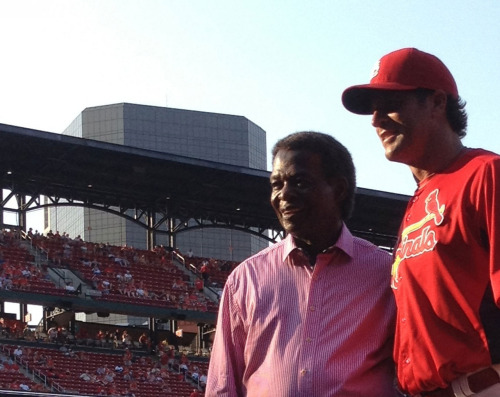 Cardinals manager Mike Matheny and Hall of Famer Lou Brock