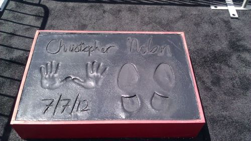 Christopher Nolan's Hand and Footprints Immortalized at Grauman's Chinese Theatre on 7/7/12.