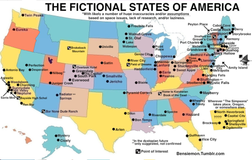 The Fictional States of America. Not at all complete. Not at all accurate. I need a boyfriend.