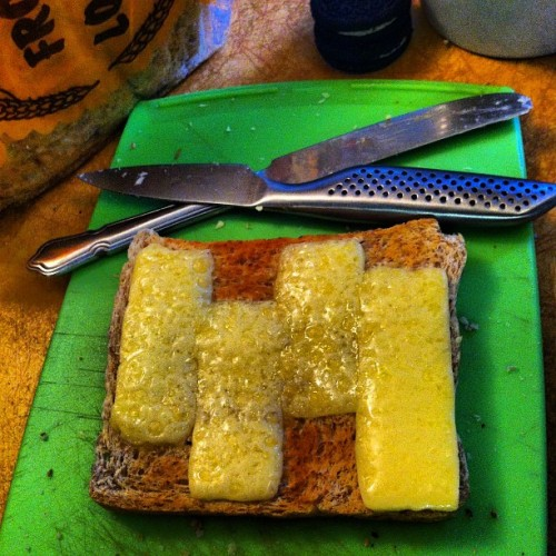Cheesy party tonight! #blackflag #toast #punk #tasty #wegotnothinbettertodo (Taken with Instagram)
