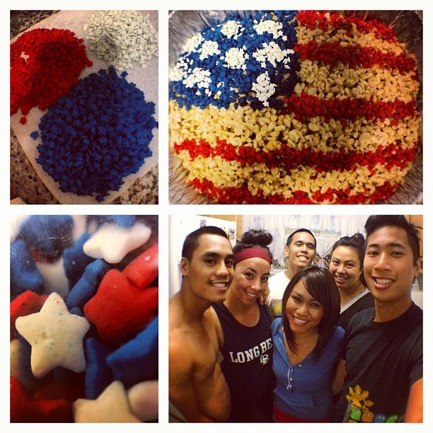 Fourth of July festivities! Made homemade rice crispy treats with an American flag design! :D