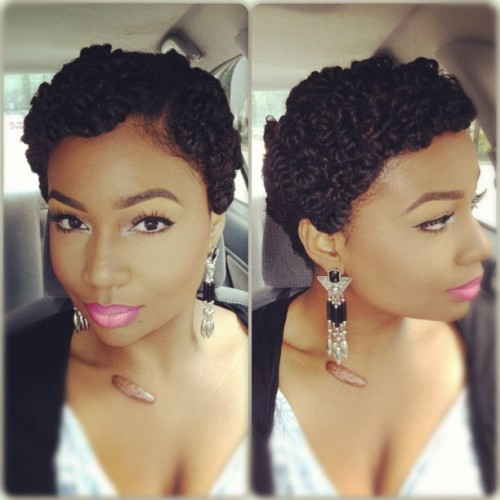 keekeers:  msdanti:  Tried @brosiaaa pin curl twist idea to see how I'd look with a short cut and I LOVE! 😍 FYI lips: MAC Viva glam Nicki and Beet liner (Taken with Instagram)  I love this hairstyle so much