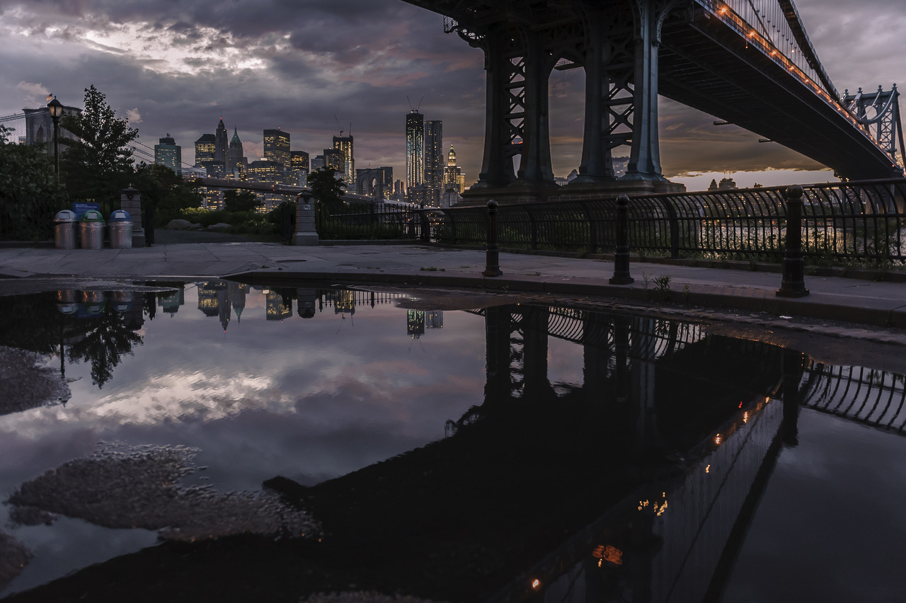 Sunset reflection in DUMBO, Brooklyn
