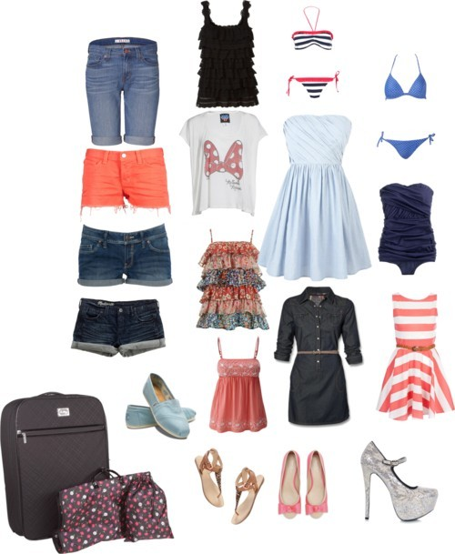 Patricia's suitcase by spazzyjazzyluvsu featuring flat sandalsJack Wills short dress / Miso short dress, $23 / Junk Food Clothing logo shirt, $53 / Top / Rosemunde black shirt / J Brand jean shorts / J.Crew bikini swimwear / J Brand jean shorts, $165 / Bikini swimwear / Madewell short shorts / Mango short shorts, $25 / String bikini, $31 / Madewell flat sandals / Carvela flat, $54 / TOMS blue shoes / Steve Madden stiletto heels / Travel bag