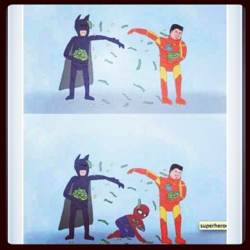 Dahaa #billionaire #ironman #batman #poor #spiderman  (Taken with Instagram)