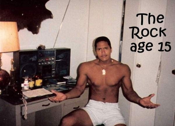 Look at this meathead! back when The Rock was just The Pebble