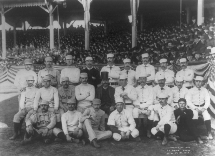 "First known photograph of someone giving ""the finger."" Boston Beaneaters pitcher, Old Hoss Radbourn, was giving it to a member of rival team, the New York Giants. source"