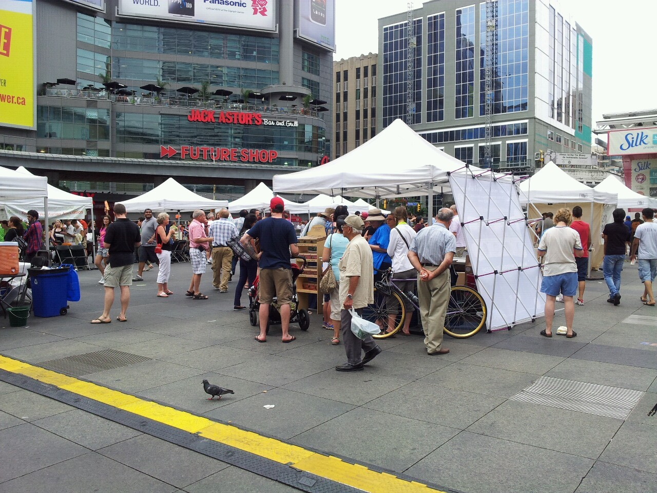 We stumbled in to some sort of vegan food fair in Dundas Square.  Stuff tastes okay, but is, more importantly, free.