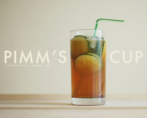 hipsterfood:  There are many, many variations of the Pimm's cup, this one's just a favorite in our house. It's sour and a little sweet and the cucumber makes it refreshing on even the hottest days. Pour 2 oz. of Pimm's over a glass full of ice. Add a splash of ginger liqueur. (If you don't have the liqueur try experimenting with fresh ginger or ginger ale! We've found 1 part ginger ale to 3 parts carbonated water tasted pretty great.) Add 1 tsp-1 tbsp agave nectar. (You can add more at the end to taste, depending on how sweet you want it to be.) Pour in the juice of half a lime and a squeeze or two of lemon. Fill the rest of the glass with carbonated water. Garnish with cucumber slices.