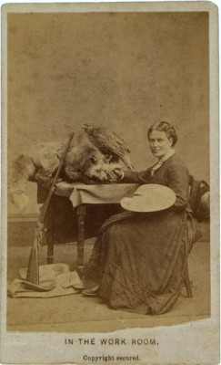 "tuesday-johnson:  ca. 1870-90's, ""In the Work Room"", [carte de visite portrait of taxidermist  M.A. Maxwell]   ""Maxwell is best known for her participation in the 1876 Philadelphia Centennial Exposition, in which she displayed her taxidermy mounts in realistic settings of the Rocky Mountains. She was photographed many times in both carte and cabinet style. Here she displays her Evans repeating rifle in both images.""  via Cowan's Auctions"