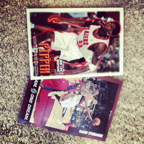 #foundinmyoldcloset Scottie Pippen and Damon Stoudamire Blazers cards (Taken with Instagram)