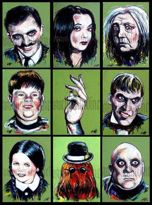 The Addam's Family by Chuck Hodi. Only $35.00 for the entire set!https://www.etsy.com/listing/85306108/prints-5x7-the-addams-family-halloween