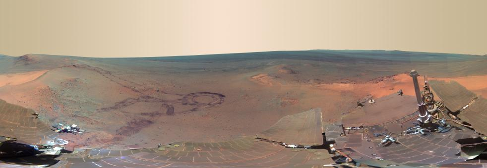Panorama of Mars. This full-circle scene combines 817 images taken by the panoramic camera (Pancam) on NASA's Mars Exploration Rover Opportunity. Check out the full resolution photo here (warning: 23096 x 7981px, 13.8MB).
