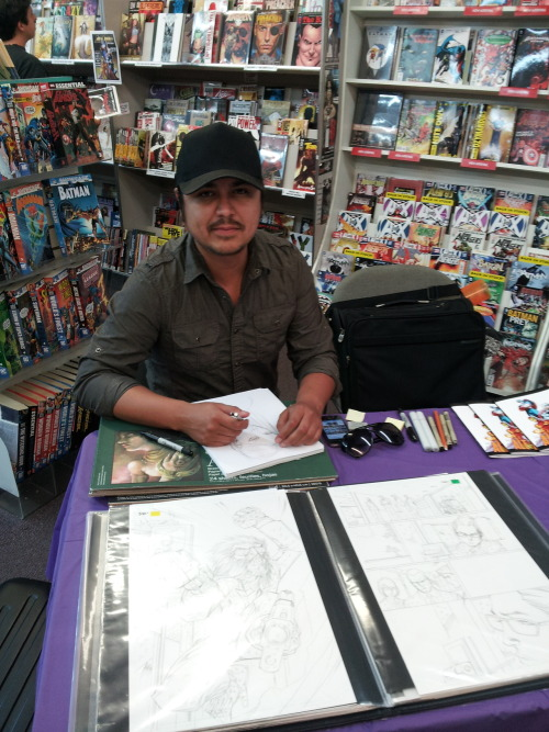 Ale Garza is here in the store until 4! Check out awesome original artwork, sketches, and of course a great selection of comics he's worked on.